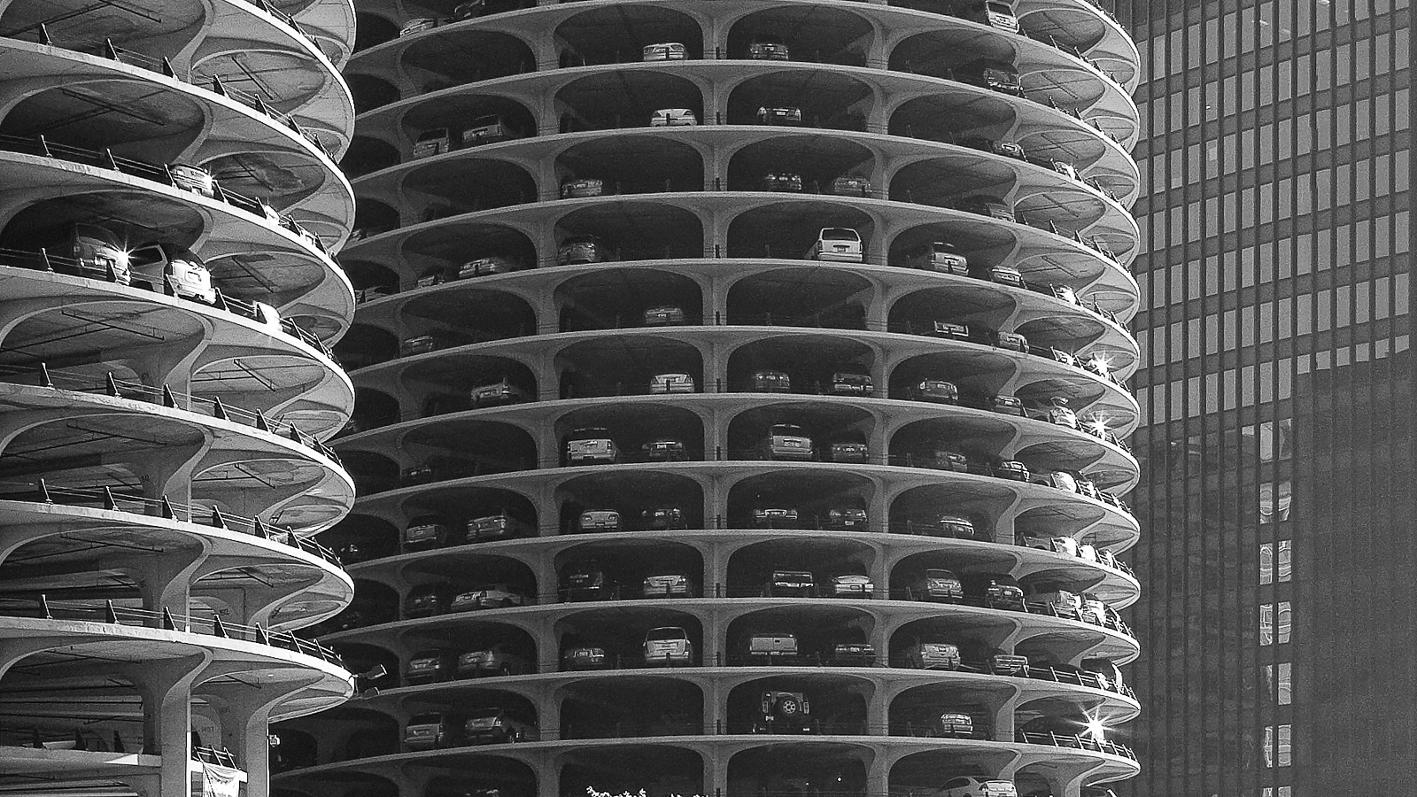 Chicago Sunlight Detail of the Marina Tower High Rise Car Park. Chicago Fine Art Print.