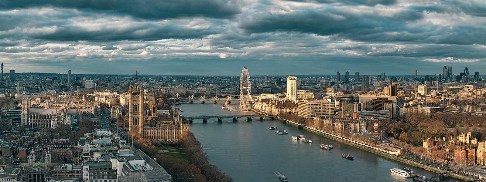Sunlit London Acrylic - Frameless mounted London Cityscape Fine Art Print