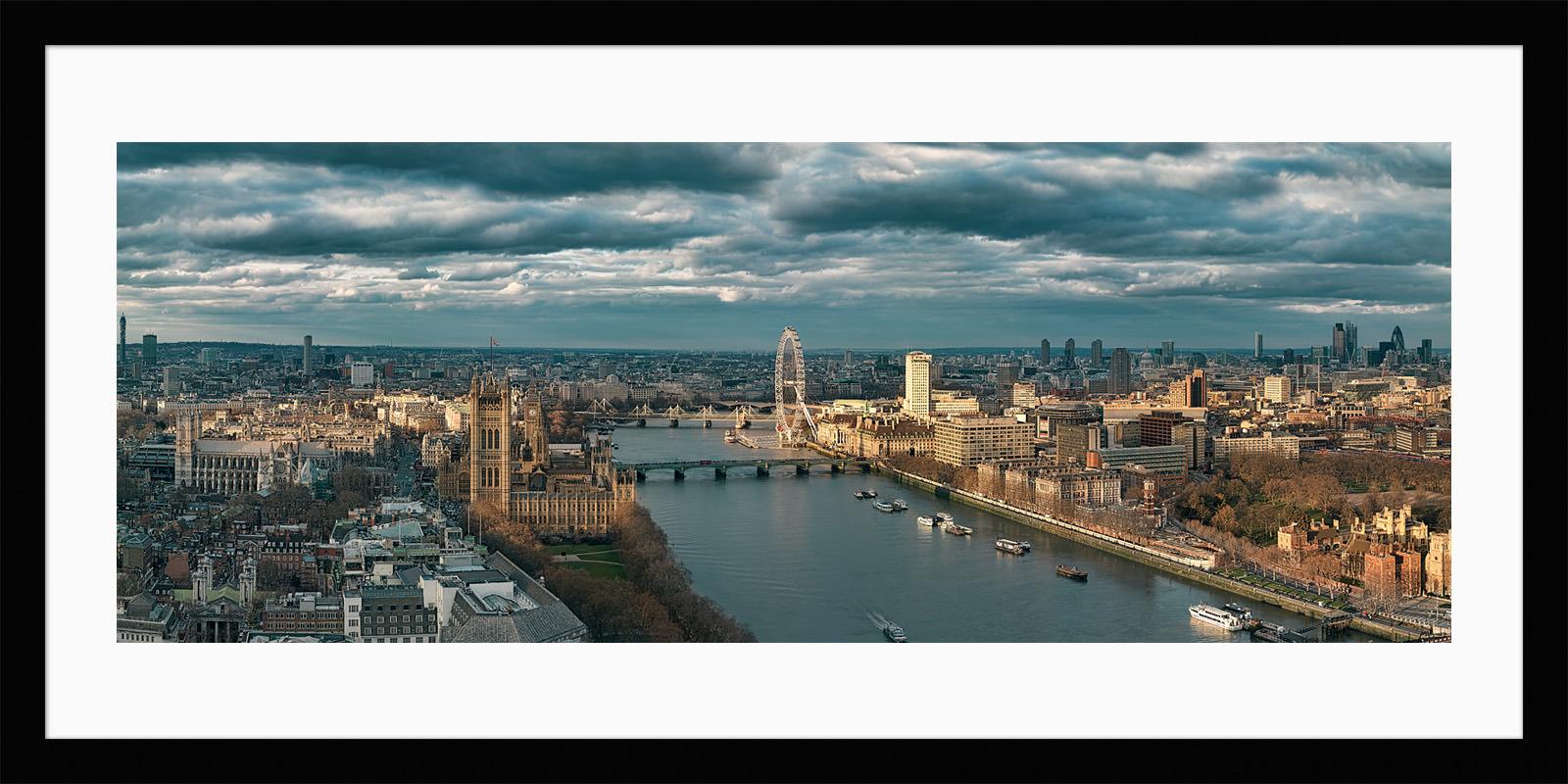 Sunlit London - The Thames, Houses of Parliament, London Eye. Framed London Fine Art Photo Print