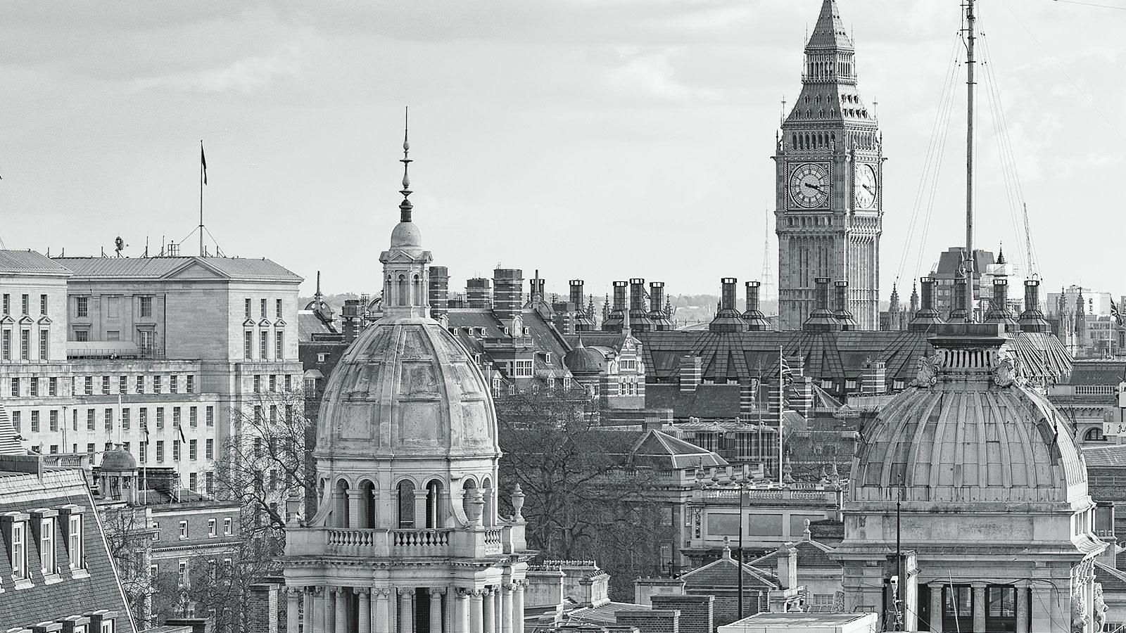 Admiralty Arch Day - Detail featuring Big Ben. London Black & White Fine Art Photograph.