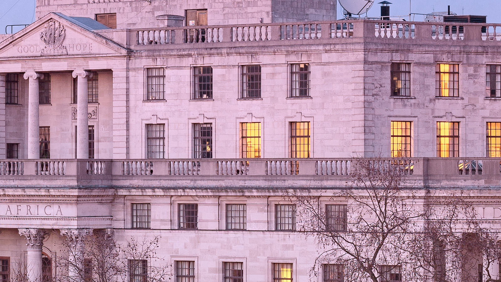 Trafalgar Square Twilight Detail - South Africa House in London's Trafalgar Square. London Fine Art Photograph.