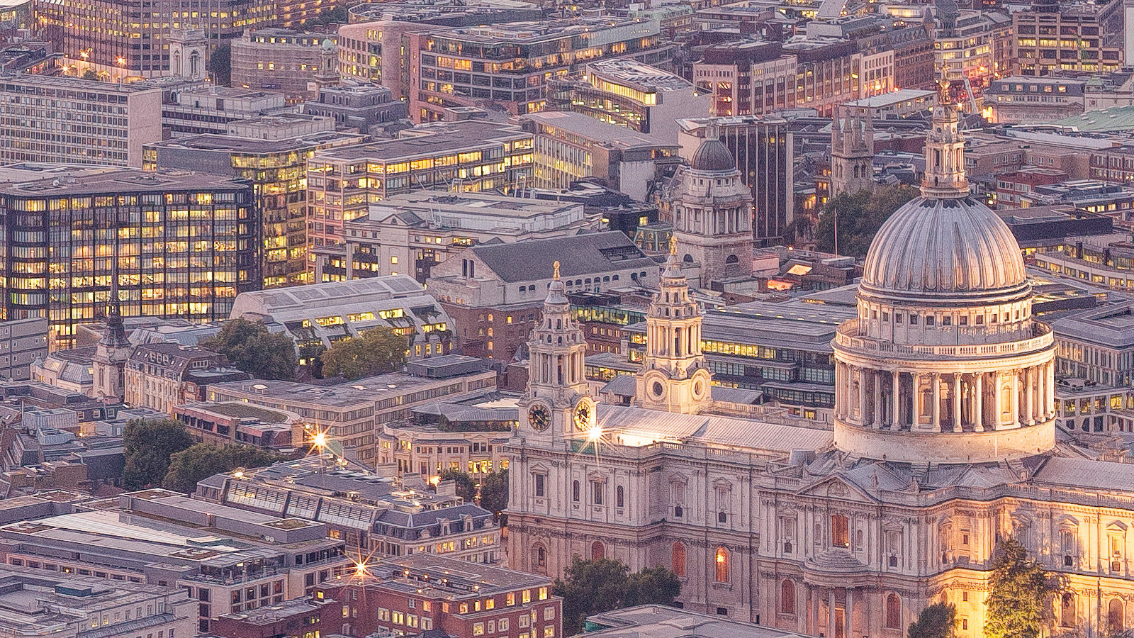 Late Sunset looking West 2013 - London Fine Art Print. detail of St. Pauls Cathedral.
