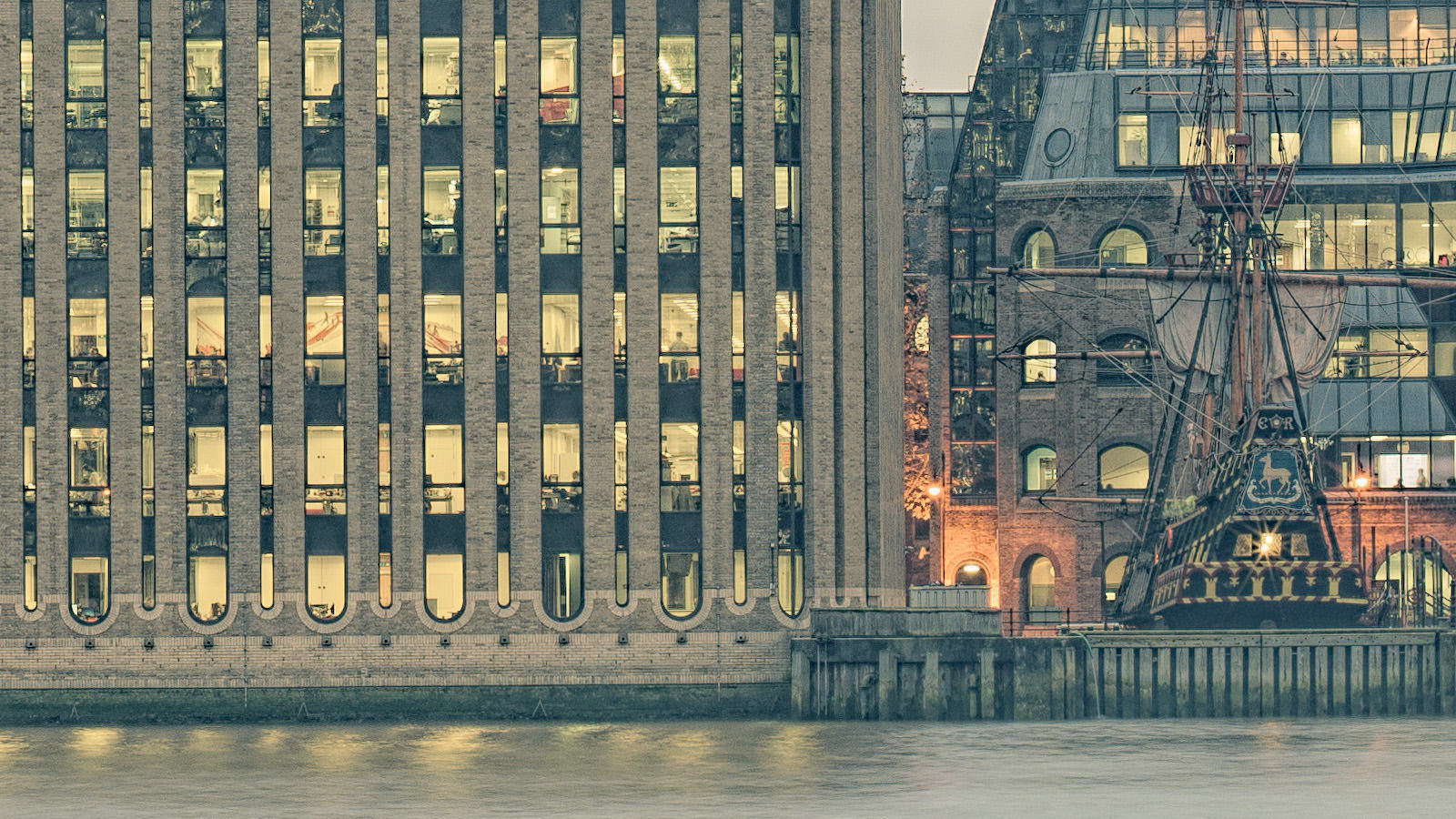 Planate London Detail - Fine Art Print. Detail of Minerva House and the Golden Hinde. High-Res London Cityscape.