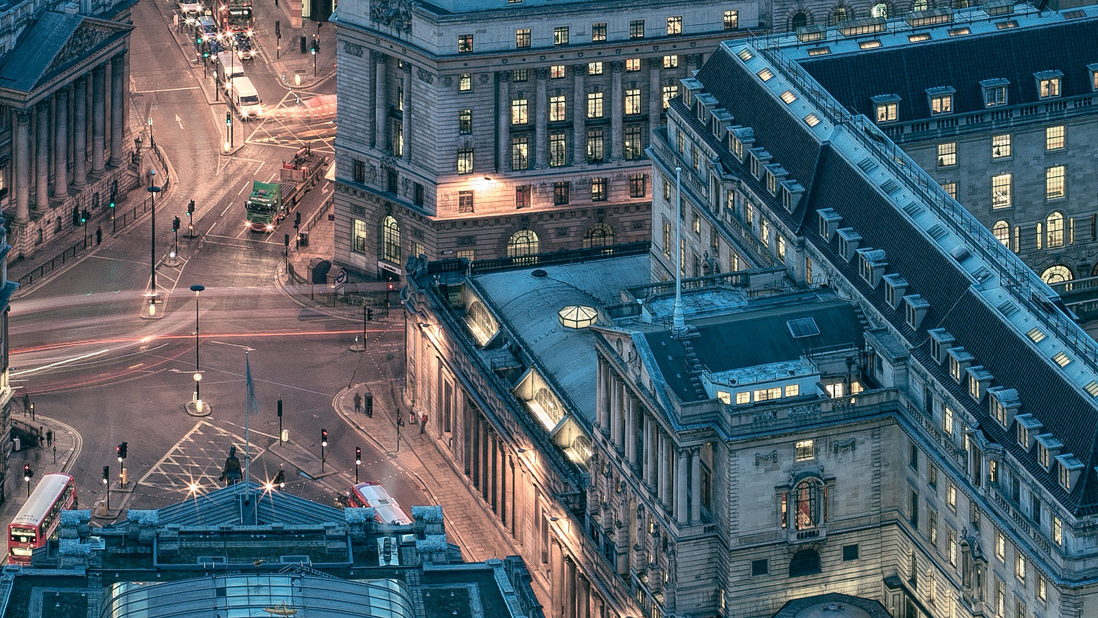 Leadenhall Building Night Detail - The Bank of England as seen from the top of the Cheesegrater, framed Photo Print of London