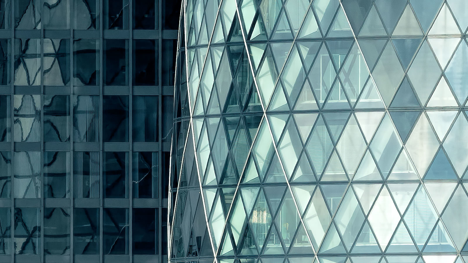 Silvered City Detail - Close up detail of 30 St Mary Axe. City of London Fine Art Print.
