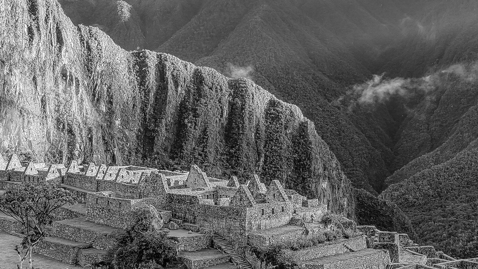 Machu Picchu, Peru. Close up detail of this Fine Art Print.
