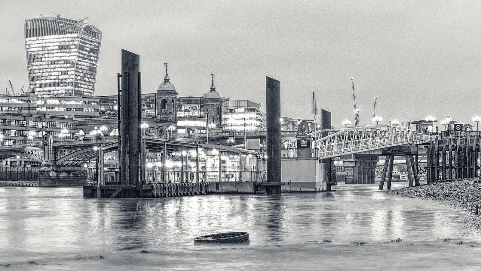 Under the Bridge Detail - View of the London Cityscape from underneath the Millennium Brige. London Black & White Fine Art Photograph.