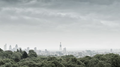 Hampstead Heath View 2010 - View of the City of London skyline from Hampstead Heath.