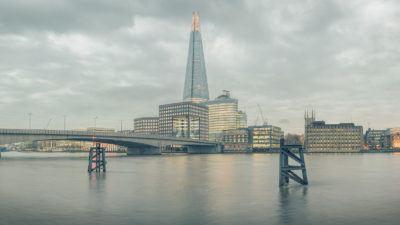 Planate London - View of the Shard and London Bridge from the north side of the River Thames. Framed Photo Print of London.