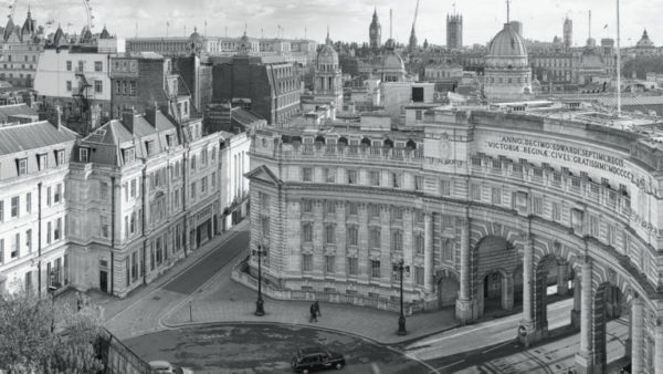 Admiralty Arch - Black and White Fine Art Print, view of Admiralty Arch, London with Big Ben and the Houses of Parliament.
