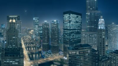 High Resolution Fine Art Print, the night view of the Chicago Cityscape along the Chicago River.