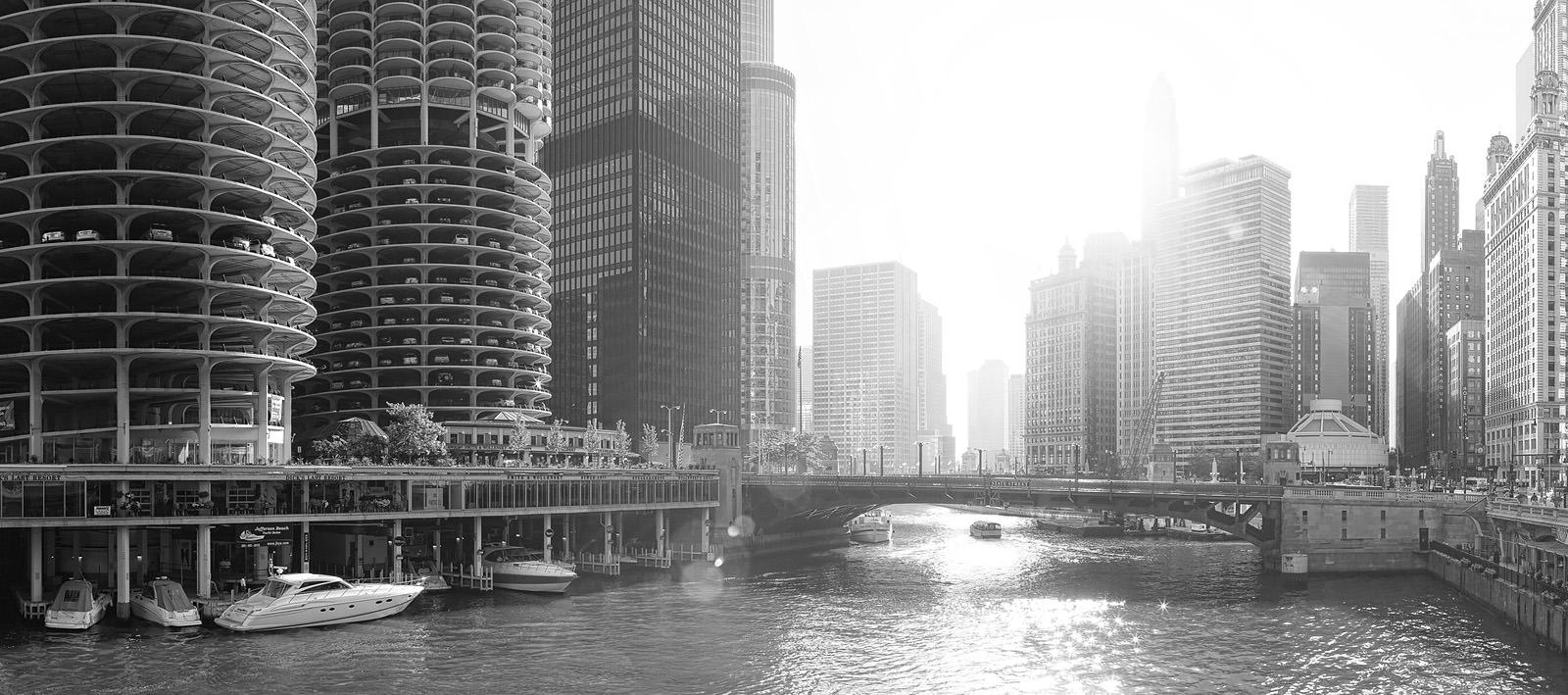 Chicago Sunlight Acrylic - Chicago Cityscape Print.