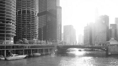 Chicago Sunlight - Black & White high resolution Fine Art Print of the Chicago Skyline