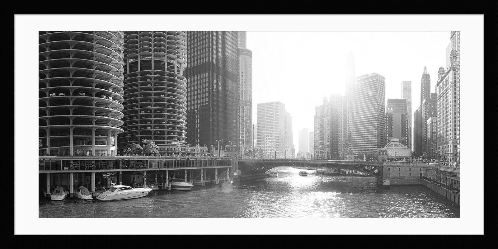 Chicago Sunlight - Framed Black & White Fine Art Photograph