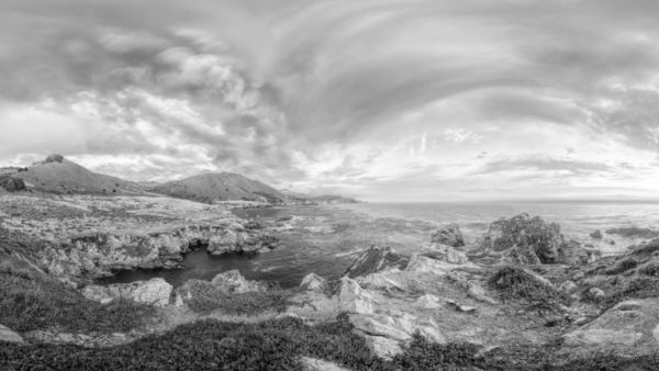 Highway 1 - Panoramic view from Highway 1 towards the Pacific Ocean. California Black & White Fine Art Photographic Print.