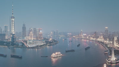 Huangpu River - View of the Shanghai Cityscape from across the Huangpu River, China. High Resolution Cityscape Fine Art Print