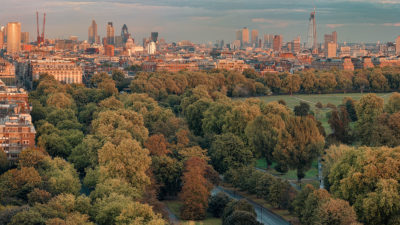 Hyde Park 2011 - Panoramic view of Hyde Park with the City of London and Canary Wharf in the distacne. London Fine Art Photographic Print.