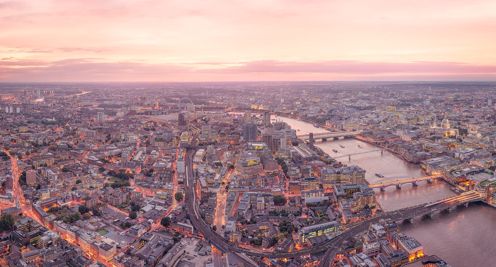 Late Sunset Looking West Acrylic - High Resolution London Cityscape