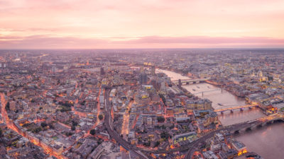 Late Sunset Looking West - High Resolution London Cityscape Print of the view west from the Leadenhall Building at sunset..