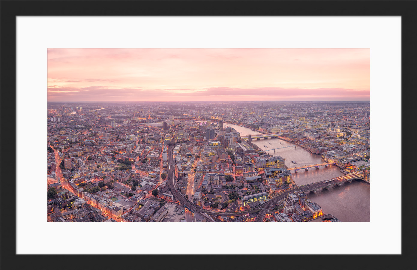 Late Sunset Looking West - Framed London High Resolution Photo