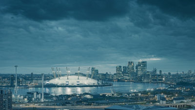 London from Greenwich - View of the Canary Wharf and the Greenwich Peninsula. Framed Photo Print of London.