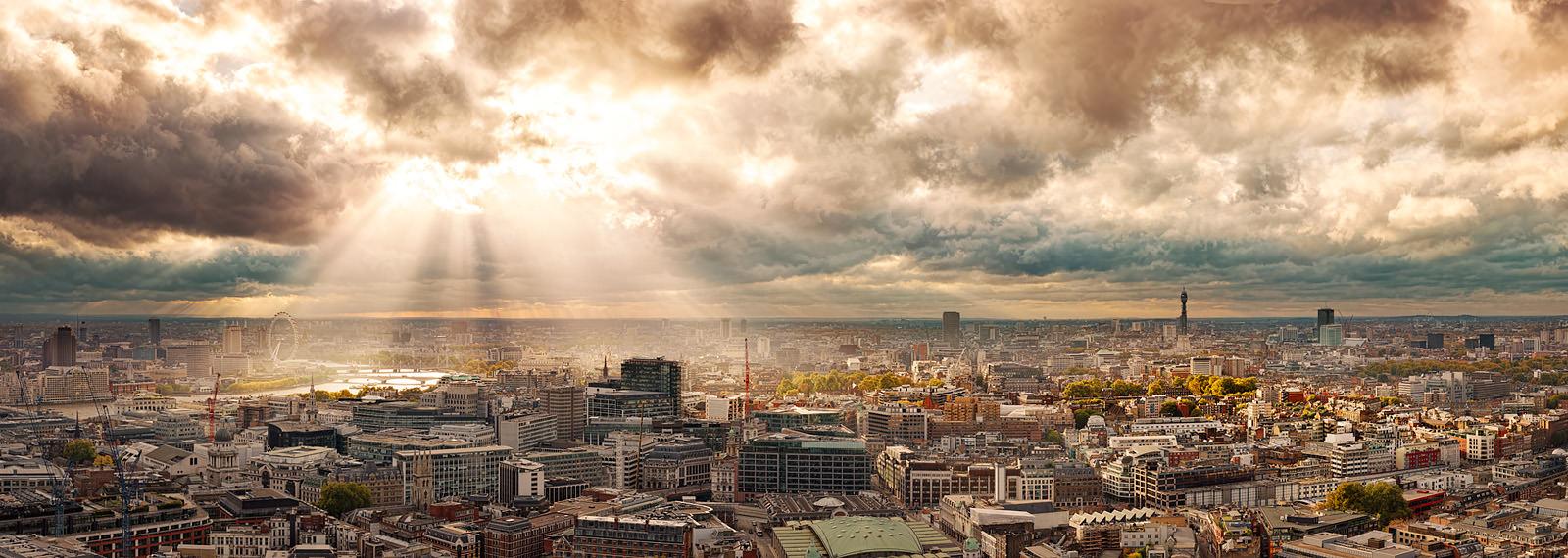 Rays Over London Acrylic - London hi-res cityscape
