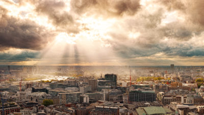 Rays Over London - Panoramic Fine Art Photo Print of the London Skyline featuring may famous landmarks.