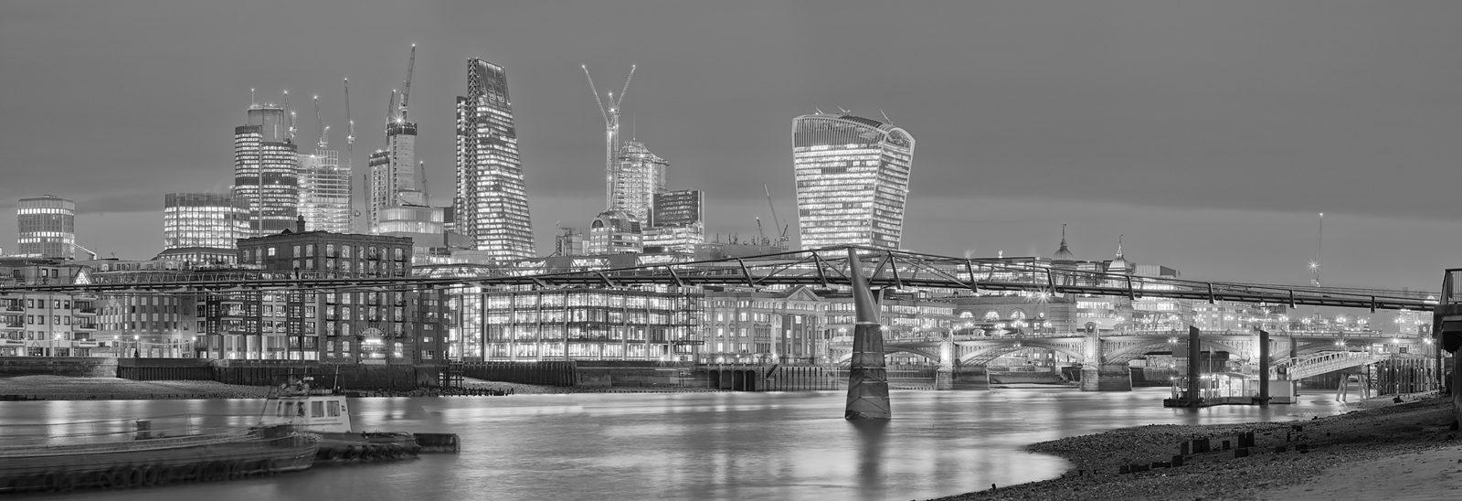 Low Tide at Millennium Bridge Acrylic - City of London Fine Art Print