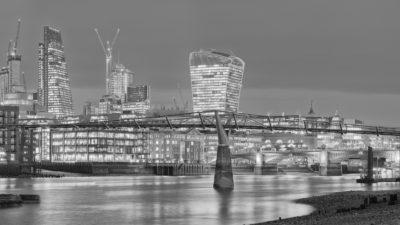 Low Tide at Millennium Bridge London Black & White Fine Art Photo Print of London